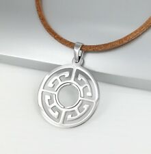 Symbol Pendant Brown Leather Ethnic Necklace Silver Chrome Round Circle Of Life