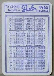 Butlin's Holiday Camp Memorabilia - 1965 Pocket/Wallet/Handbag Calendar.