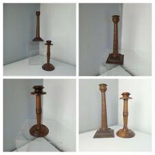 More details for antique vintage 1920s - 2 walnut wooden candlestick holders  art deco