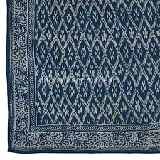 Indigo Blue Hand Stitched cotton Light Weighted Kantha Warm Quilt Queen Size