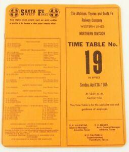 Atchison Topeka & Santa Fe Railways Railroad RR ETT Timetable 1985 Western TT