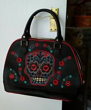 Black FauxLeather BANNED Handbag Sugar Skull Halloween Skeleton ROCKABILLY