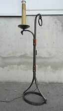 Lampe de parquet moderniste métal et cuir design lamp