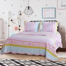 Cozy Charming Pink Blue Aqua Polka Dot Comforter Quilt Set Girls Full Queen