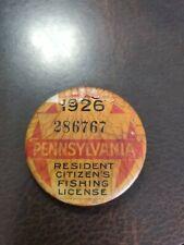 Vintage Original Pennsylvania Fishing License Pin 1926