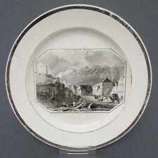 Steinzeug Teller, Ansicht Werdenberg  St. Gallen Schweiz, Umdruckdekor, um 1840