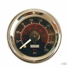 "VIAIR 90080 Air Pressure 2"" 220psi GAUGE METER  DUAL NEEDLE BLACK FACE DUAL READ"