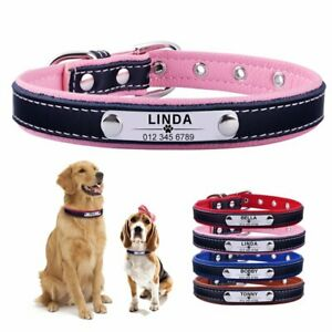 Leather Personalised Dog Collar Pet Cat Custom Engraved Name ID Tag Puppy Soft L