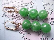 große Smaragd Ohrhänger Gold 585, Ohrhänger Gold 585 mit 3 Smaragd Kugeln 9 mm