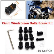 Motorcycle 15mm Windscreen Fairing Screen Shield CNC Nut Bolt Screw 10 Set/Kit