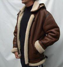 MILANO Vera Pelle in montone shearling con cappuccio Cappotto Giacca Montgomery Taglia M/L