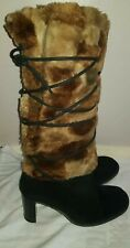 Ladies Jones The Bootmaker Fluffy Knee High Leather  Boots Size 39 UK 6
