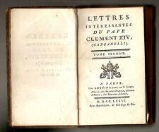 1776, Caraccioli - Lettres intéressantes du Pape Clément XIV, (Ganganelli)