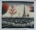 Wall Art Hand-painted Impressionist Paris Eiffel Tower Oil Painting on Canvas