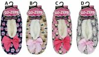 Ladies Womens Cozees Sherpa Fleece Lined Animal Gripper Slipper Socks Size 4-7