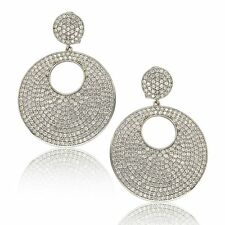 Suzy Levian White Sterling Silver Cubic Zirconia Dangling Earrings