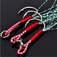 20x Fishing Hooks Assist Jig Bait Fishhook Carbon Stainless Steel with PE Line