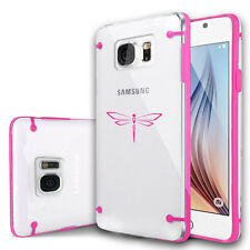 For Samsung Galaxy S7 S4 S5 S6 Edge + Clear Hard TPU Case Cover Dragonfly