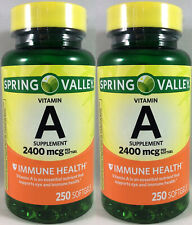 2 Pack Spring Valley Vitamin A 2400 mcg 8000 I.U. - 250 Softgels Each