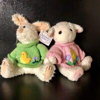 "Easter Bunny Rabbit Lamb Pink Green Sweater Plush Stuffed 10"" Keepsake Critters"