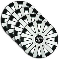 "Hub Caps 15"" TOYOTA Camry Verso Corolla 4x Wheel Trim Cover SILVER+BLACK ONYX"
