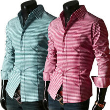 Manga Larga Hombre Polo Shirts Camisas de cuadros Camisas Formales 6 Color S-XL