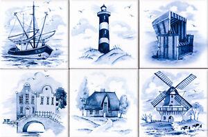 10x10 Küchenfliesen Delfter Art (Leuchtturm, Windmühle, Strandkorb, Haus am See)