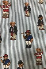 Ralph Lauren Polo Teddy Bear Blue Striped Twin Fitted Sheet & Flat Sheet EUC
