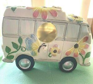 NWT Hippy Flower-Power Boho Retro Bus Van Ceramic Birdhouse