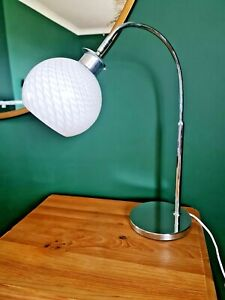STUNNING Opaque white glass shade chrome table Lamp by Maison art deco 2 AVAIL