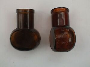 Pair Of Brown Glass Vintage Bovril Jars
