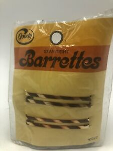 "Vintage Goody Stay Tight Barrettes Metal 2.25"" Gold Brown Stripes NOS"