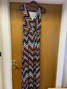 Ladies V Neck Sleeveless Maxi Dress From M & Co UK 10 VGC Black & Multicoloured