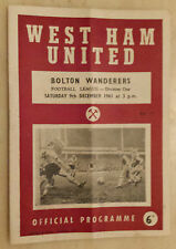 1961/62 Football League - WEST HAM v BOLTON WANDERERS - 9th December