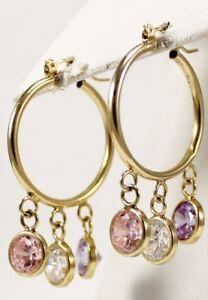 Unique Cubic Zirconia Hoop Earrings in 14kt Yellow Gold