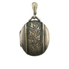 Large Oval Locket Vintage Silver Engraved