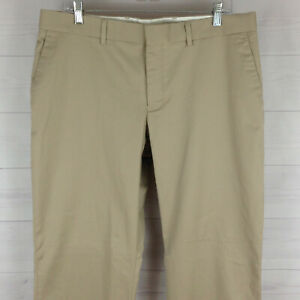 EXPRESS Agent mens 34 x 32 solid beige flat front straight casual khaki pant EUC