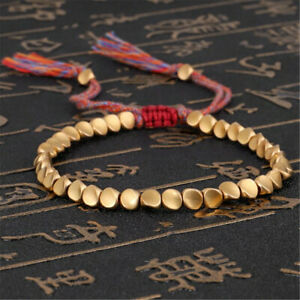 Lucky Tibetan Buddhist Braided Cotton Copper Beads Rope Bracelet Bangle Gifts