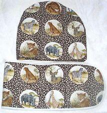 On Safari lions, giraffes, leopards, cheetahs zebras teacosy and oven glove set