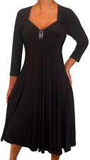 KL3 FUNFASH BLACK 3/4 SLEEVES EMPIRE WAIST COCKTAIL DRESS NEW Plus Size 2X 22 24