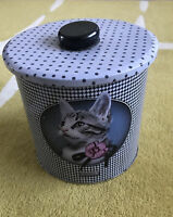 Vintage Retro Kitsch Cat Polka Dot Biscuit Tin Barrel Storage Collectable Treats