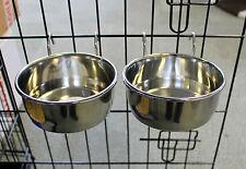Par de acero inoxidable resistente metal Coop Copa Tazón de fuente de agua de comida de perro cajón Jaula Animal