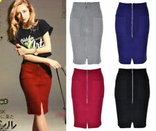 Below Knee Stretch Knit Skirts for Women