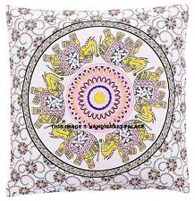 """Indian Elephant Mandala Cushion Covers Antique Style Ethnic 16"""" Sofa Pillow Case"""