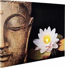 801 LED Wandbild Buddha Bild Buddhastatue mit LEDs Leuchtbild Leinwand Asiatisch