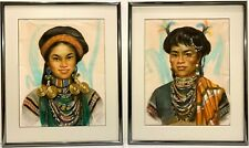 Pair CESAR AMORSOLO 20th c. Filipino SIGNED PORTRAITS Man & Woman Manila 1957
