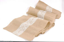 """Burlap & Lace Table Runner 19""""x120"""" XLong & Wide Wedding Party White Lace 9220"""
