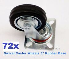 "Lot of 72 Heavy Duty Swivel Caster Wheels 3"" Rubber Base with Top Plate Bearing"