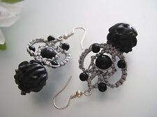 Vintage handcrafted Chinese lucky knot w/ Onyx carving dangle earrings