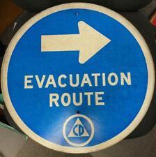 "VINTAGE "" Evacuation Sign  1950 CD Cold War Era Civil Defense Man Cave or Garage"